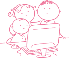pink illustrative icon of a family at a computer