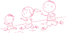 illustrative icon of a family running