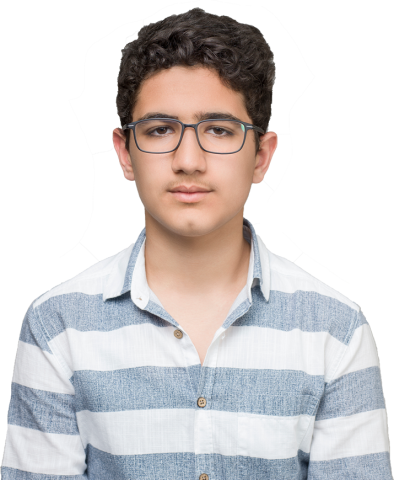 portrait photo of a teenage boy wearing glasses