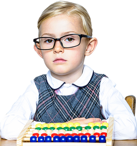 portrait photo of a young girl in glasses playing with an abacus