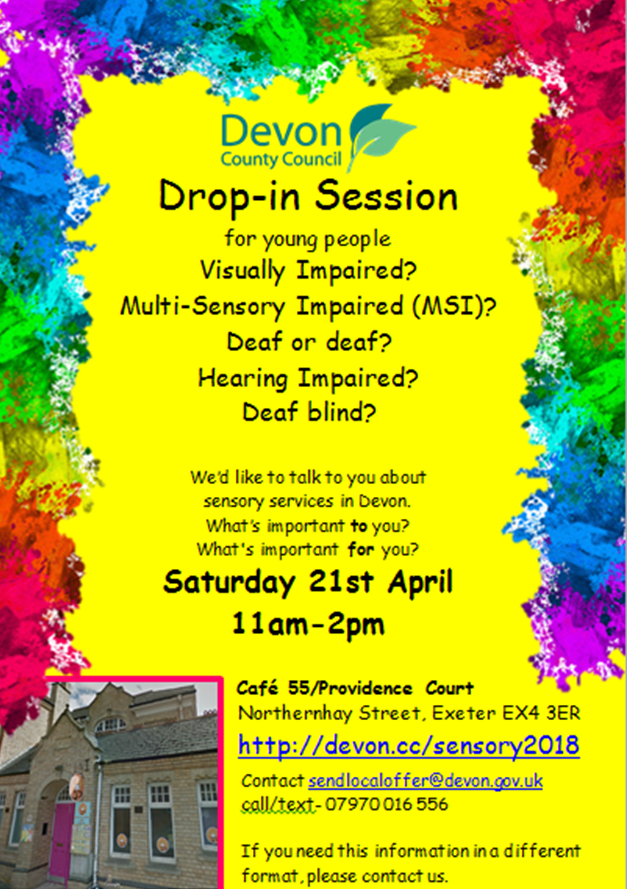 yellow poster for drop in young people's event on 21st april 2018