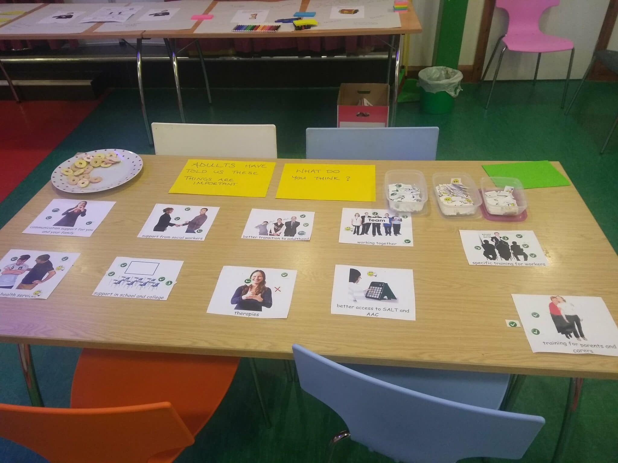 photo of the voting table with pictures of the priorities