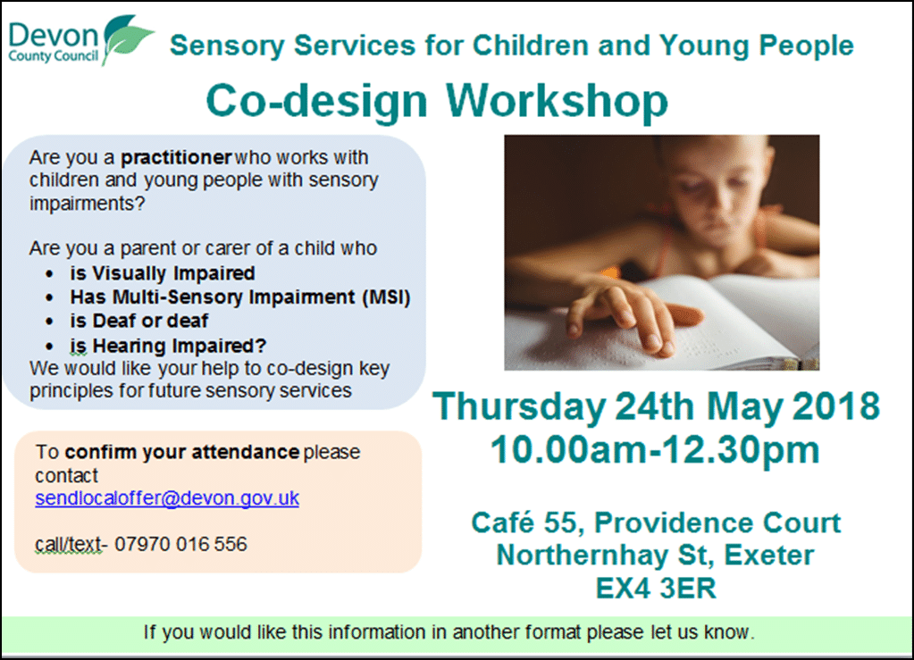 poster for the parent and p[rofessional co-design event in May 2018