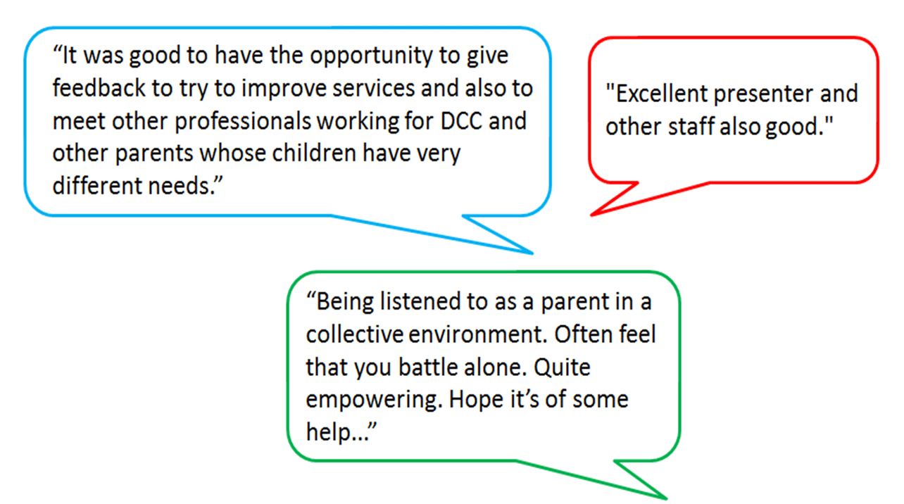 three quotes from families who attended the parent carer event and felt it was helpful