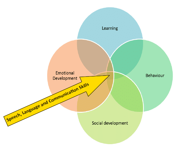 Venn diagram showing learning, emotions, behaviour and social development