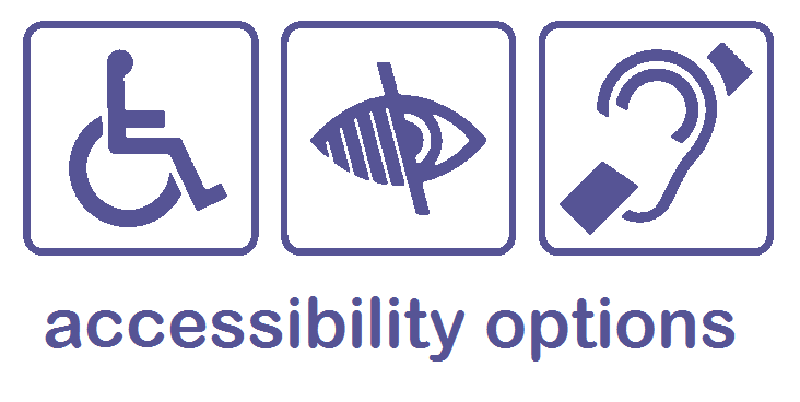 accessibility icons and link to accessibility options