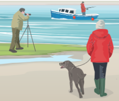 Drawing of a boat on the sea and two people on the beach