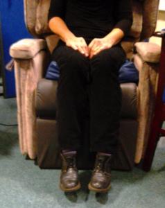 sitting on a pressure cushion