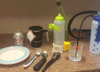 A range of cups, bottles and cutlery