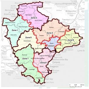 Map of Devon by zone areas 1-8 Listed in below table
