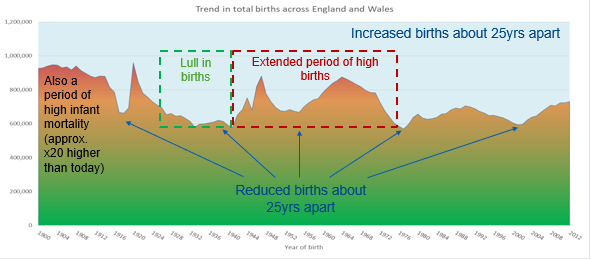 "Trend in total births across England and Wales (increased births about 25 years apart) shows that there was a lull in the birth rate between1925-1942 and these people are now aged between 77 and 94. However from 1943-74 there was an extended peak in the birth rate and these people are now aged from 45-76 - the ""Baby Boomer"" generation"