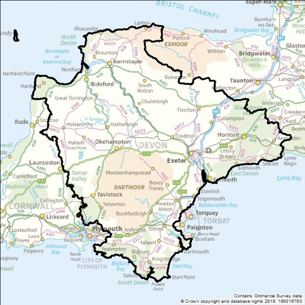 The image is a map showing the area covered by Devon County Council. The map shows that the boundaries of Devon County Council extend as follows; eastwards across the north coast of Devon from Gooseham to Lynmouth, southwards across the western edge of Exmoor National Park to Axminster, westwards along the south coast from Rousdon and Seaton to Newton Ferrers and Wembury, and northwards along the Tamar Valley from Bere Ferrers to Tavistock, Holsworthy and Gooseham.