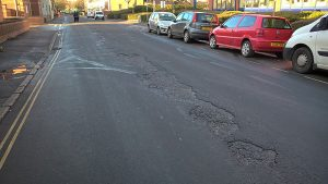 Defective road surface