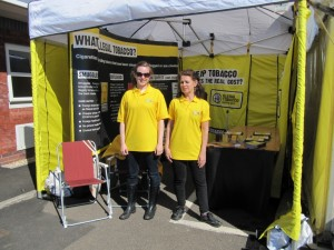 The Stop Illegal Tobacco tent at the Devon County Show 2013